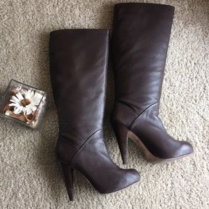 Dolce Vita Knee High Leather Stiletto Boots